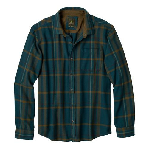 Mens Prana Felix Flannel Long Sleeve Non-Technical Tops - Deep Teal L