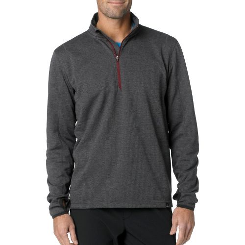 Mens Prana Gavin Long Sleeve 1/2 Zip Technical Tops - Charcoal L