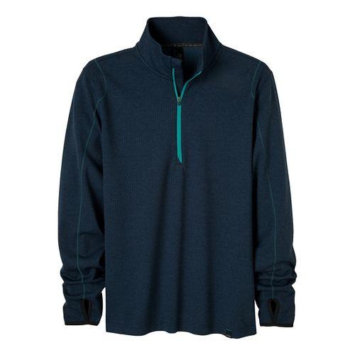 Mens Prana Gavin Long Sleeve 1/2 Zip Technical Tops - Dress Blue M