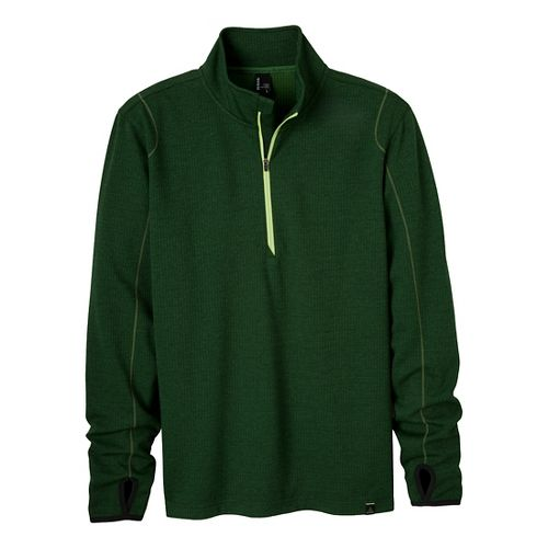 Mens Prana Gavin Long Sleeve 1/2 Zip Technical Tops - Pine Needle M