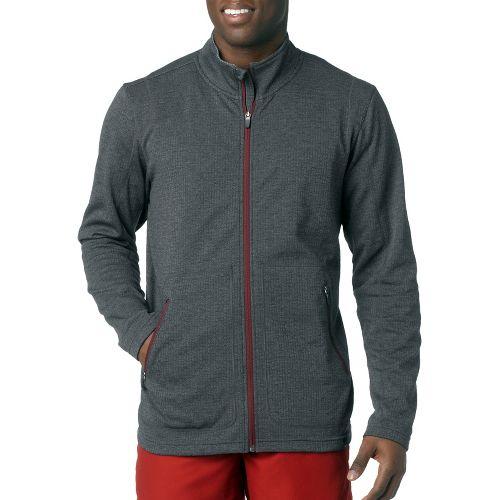 Mens Prana Gavin Full Zip Long Sleeve Full Zip Technical Tops - Charcoal S