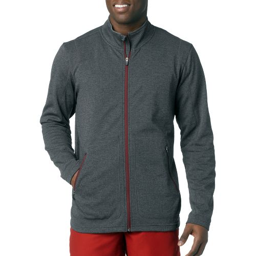 Mens Prana Gavin Full Zip Long Sleeve Full Zip Technical Tops - Charcoal XL