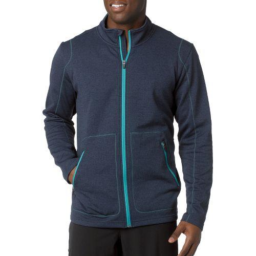 Mens Prana Gavin Full Zip Long Sleeve Full Zip Technical Tops - Dress Blue S ...