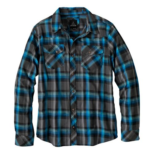 Mens Prana Holdstad Long Sleeve Non-Technical Tops - Charcoal L