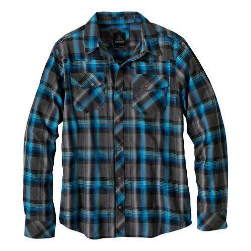 Mens Prana Holdstad Long Sleeve Non-Technical Tops - Charcoal XL