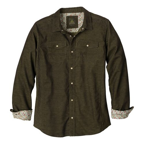 Mens Prana Kellan Slim Long Sleeve Non-Technical Tops - Cargo Green L