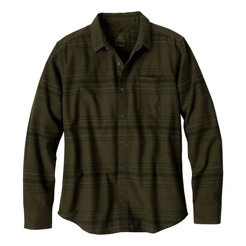 Mens Prana Leon Long Sleeve Non-Technical Tops - Cargo Green S