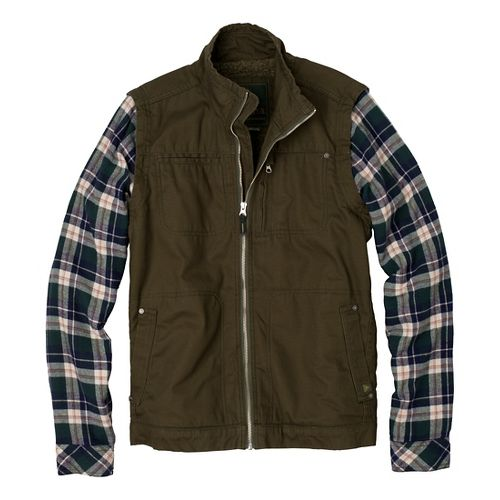 Mens Prana Lomen Convertible Outerwear Jackets - Cargo Green L
