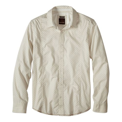Mens prAna Lukas Slim Long Sleeve Non-Technical Tops - Beige L