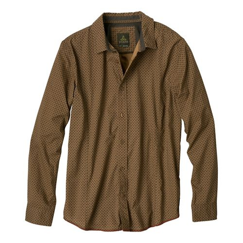 Mens Prana Lukas Long Sleeve Non-Technical Tops - Olive M