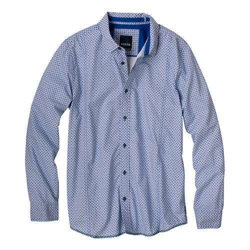 Mens Prana Lukas Long Sleeve Non-Technical Tops - Pure Blue XL
