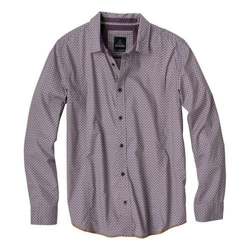 Mens Prana Lukas Long Sleeve Non-Technical Tops - Thistle S