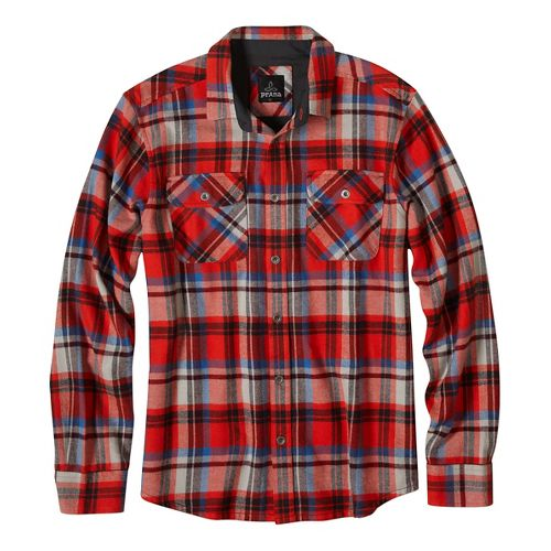 Mens prAna Lybeck Long Sleeve Non-Technical Tops - Red L