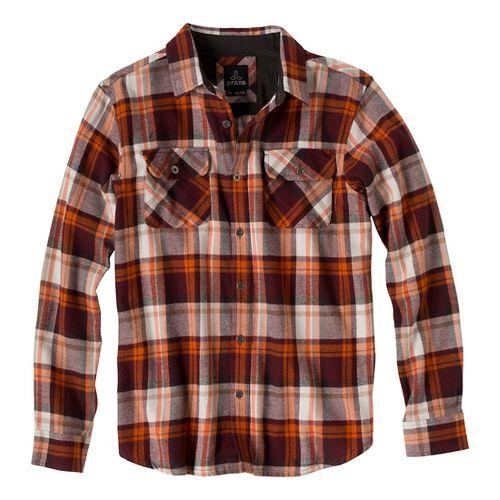 Mens Prana Lybeck Long Sleeve Non-Technical Tops - Mahogany XL