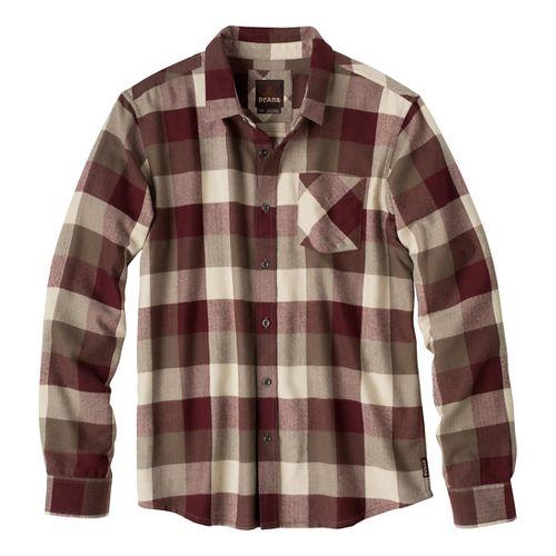 Mens Prana Montana Long Sleeve Non-Technical Tops - Mahogany XL