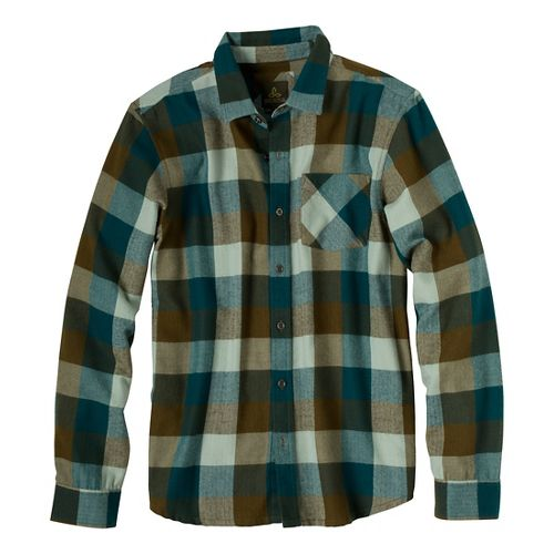 Mens Prana Montana Long Sleeve Non-Technical Tops - Teal M