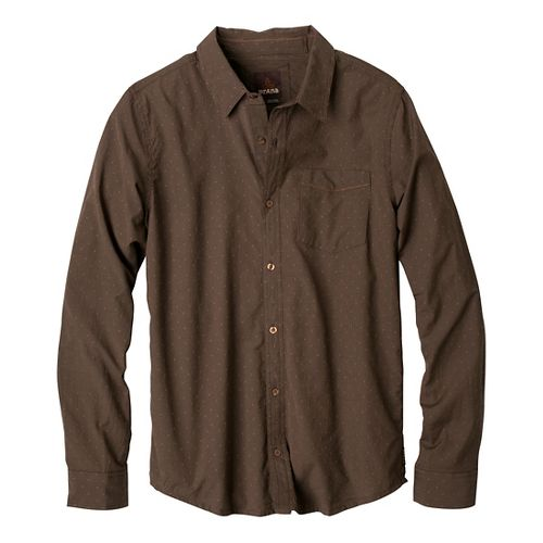 Mens Prana Odin Slim Fit Long Sleeve Non-Technical Tops - Brown XL