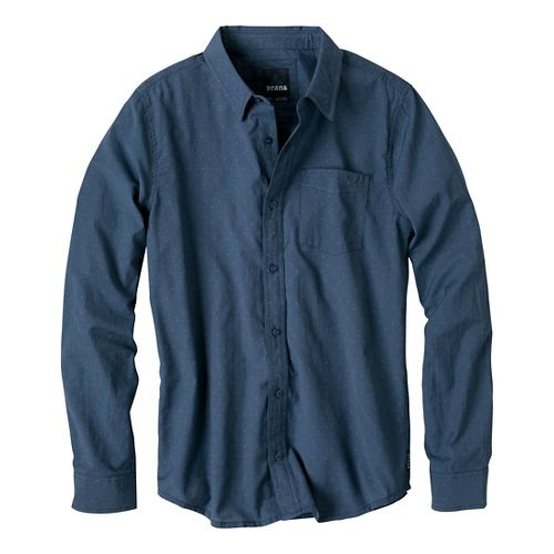 Mens Prana Odin Slim Fit Long Sleeve Non-Technical Tops - Dress Blue L
