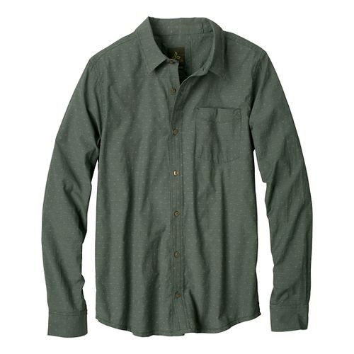 Mens Prana Odin Slim Fit Long Sleeve Non-Technical Tops - Pine Needle M