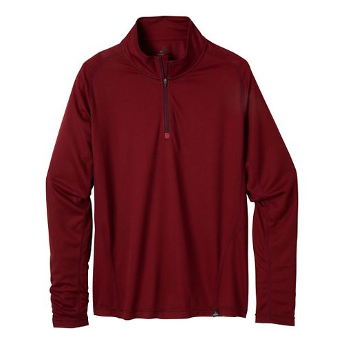 Mens Prana Orion 1/4 Zip Long Sleeve 1/2 Zip Technical Tops - Mahogany S