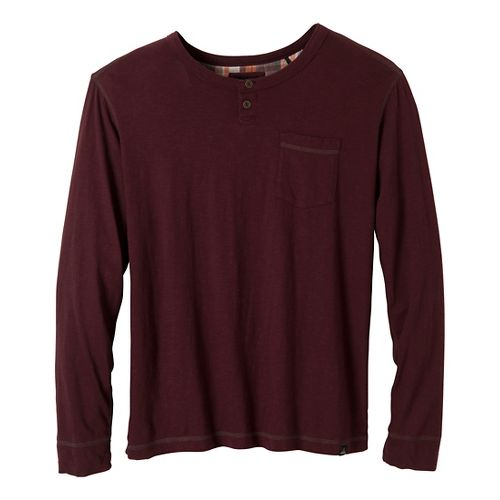 Mens Prana Outlook Crew Long Sleeve Non-Technical Tops - Mahogany S