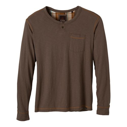 Mens Prana Outlook Crew Long Sleeve Non-Technical Tops - Mud XL