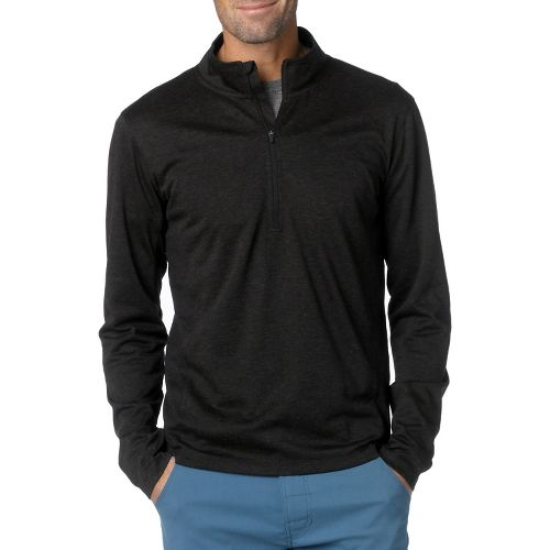 Mens Prana Porter Long Sleeve 1/2 Zip Technical Tops - Black L