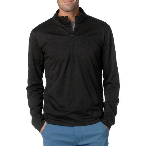Mens Prana Porter Long Sleeve 1/2 Zip Technical Tops - Black S