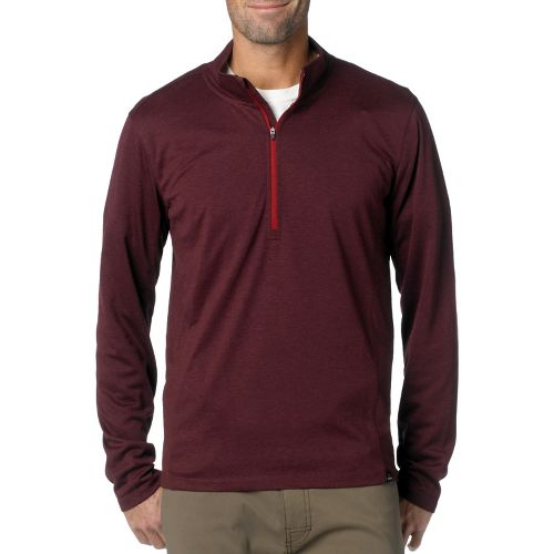 Mens Prana Porter Long Sleeve 1/2 Zip Technical Tops - Mahogany XL