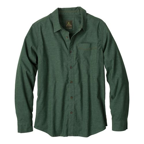 Mens Prana Sutra Slim Long Sleeve Non-Technical Tops - Pine Needle S
