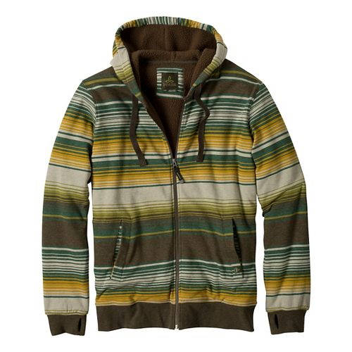 Mens Prana Tollak Full Zip Warm-Up Unhooded Jackets - Cargo Green L