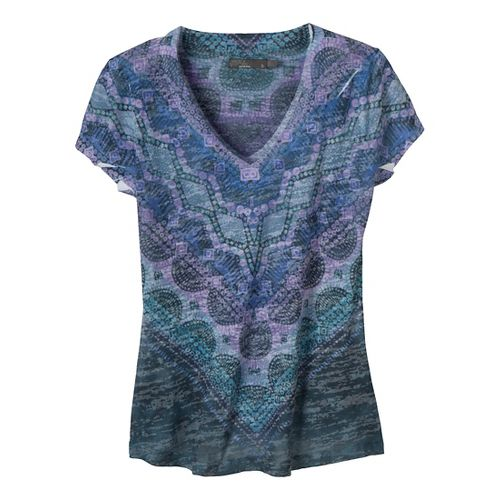 Womens Prana Braiden Short Sleeve Non-Technical Tops - Stone Blue S
