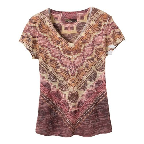 Womens Prana Braiden Short Sleeve Non-Technical Tops - Terracotta M