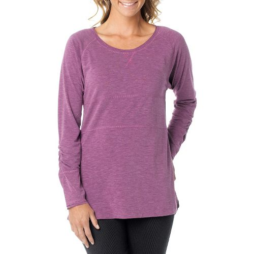 Womens Prana Ada Long Sleeve Non-Technical Tops - Red Violet L