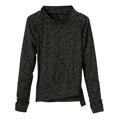 Womens Prana Alicia Pullover Long Sleeve No Zip Technical Tops - Black L