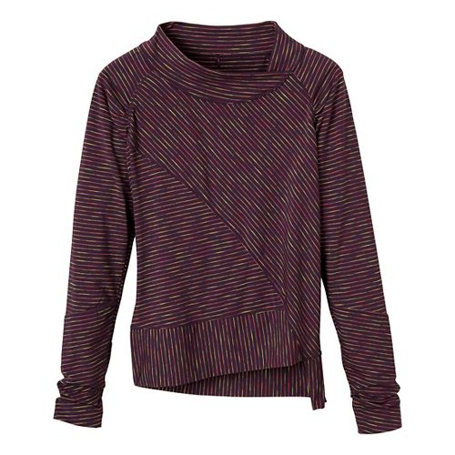 Womens Prana Alicia Pullover Long Sleeve No Zip Technical Tops - Dark Plum XL