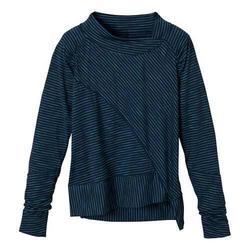Womens Prana Alicia Pullover Long Sleeve No Zip Technical Tops - Dress Blue L