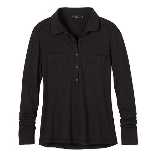Womens prAna Besha Long Sleeve Non-Technical Tops - Black/Black S