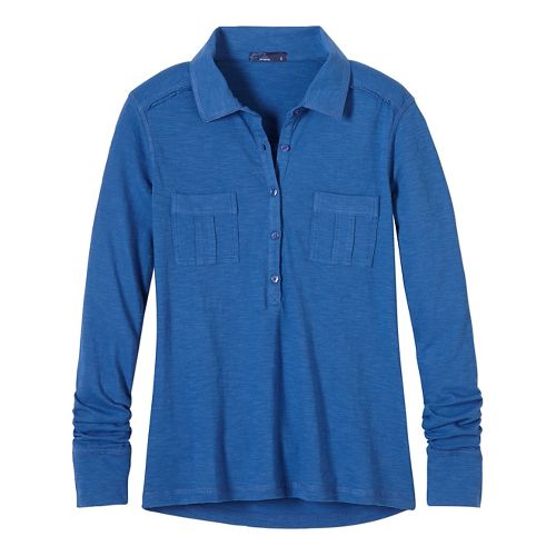Womens prAna Besha Long Sleeve Non-Technical Tops - Blue XL