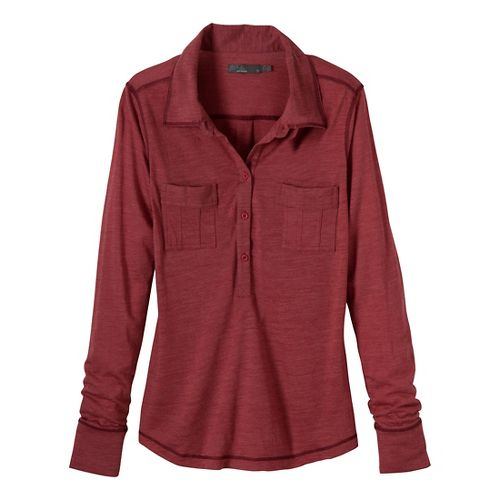Womens Prana Besha Long Sleeve Non-Technical Tops - Crushed Cran L