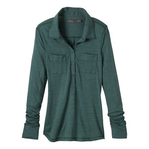 Womens Prana Besha Long Sleeve Non-Technical Tops - Dusty Teal L