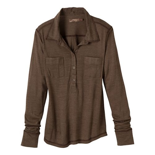 Womens Prana Besha Long Sleeve Non-Technical Tops - Taupe M