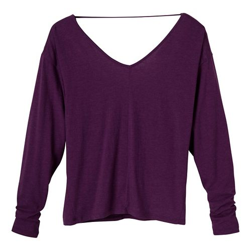 Womens Prana Bianca Long Sleeve Non-Technical Tops - Red/Violet XS