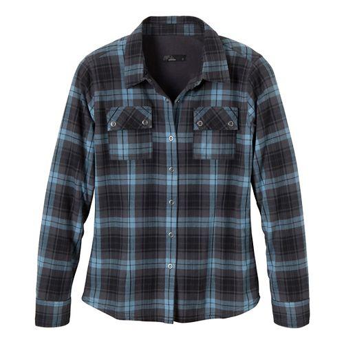 Womens Prana Bridget Lined Shirt Long Sleeve Non-Technical Tops - Coal L