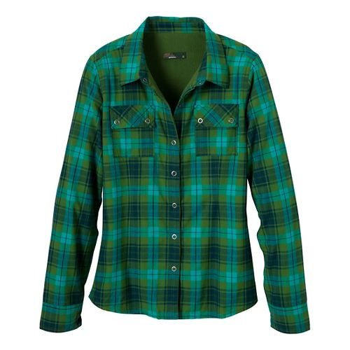 Womens Prana Bridget Lined Shirt Long Sleeve Non-Technical Tops - Deep Jade S