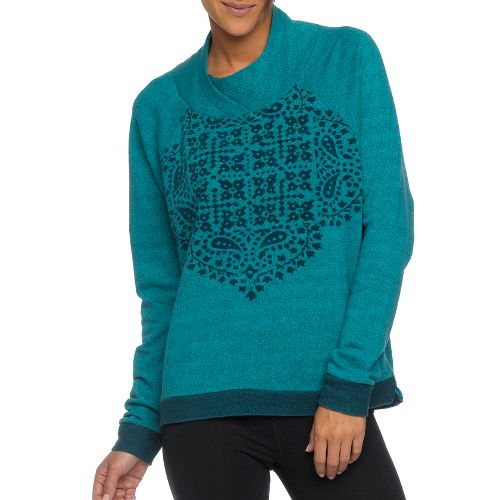 Womens Prana Camille Pullover Long Sleeve Non-Technical Tops - Deep Teal L