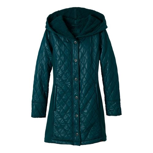 Womens Prana Diva Long Outerwear Jackets - Deep Teal XL