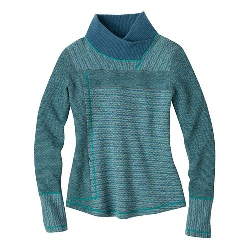 Womens Prana Eleanor Sweater Long Sleeve No Zip Technical Tops - Dusty Teal XL