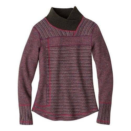 Womens Prana Eleanor Sweater Long Sleeve No Zip Technical Tops - Plum Red L