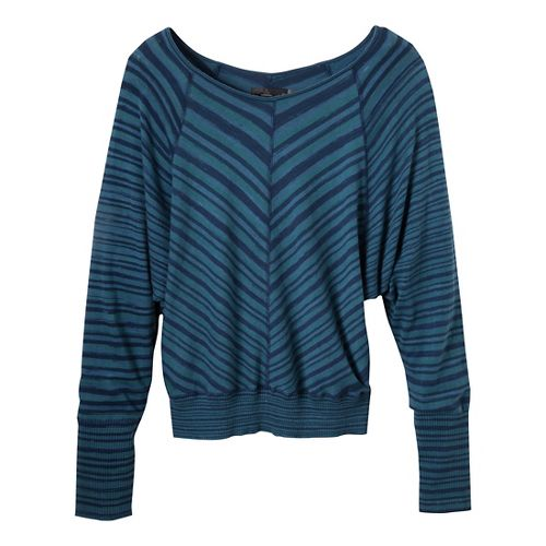 Womens Prana Emerson Sweater Long Sleeve Non-Technical Tops - Blue Ridge L
